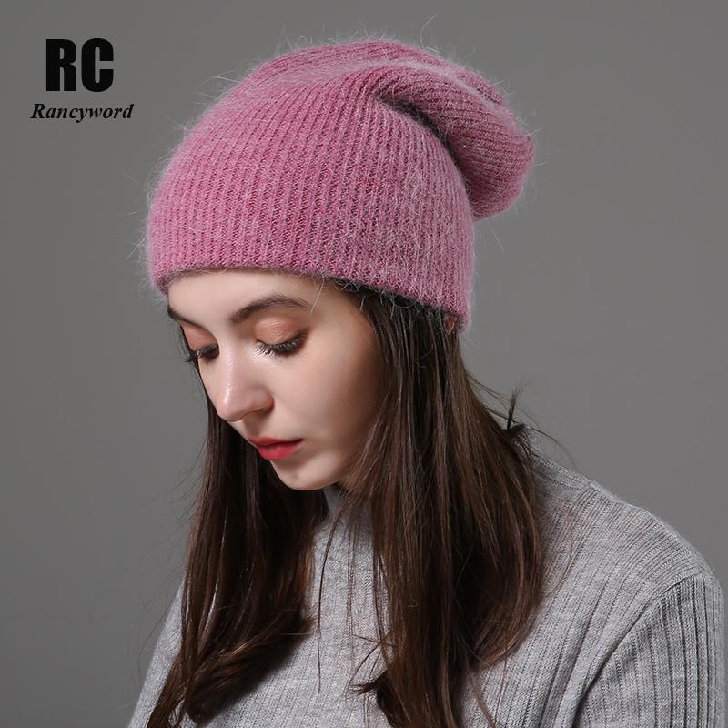[Rancyword] Women Winter Hats Beanies Knitting Wool Fur Hat Female Real Fur Skullies Caps Gorros Solid Color RC2076