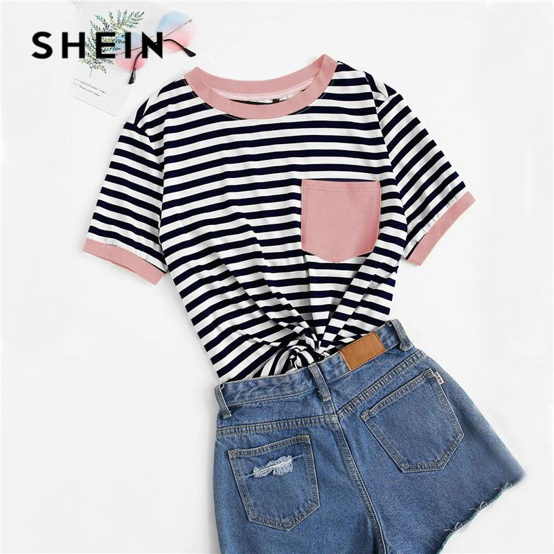 5636f01bff 2019 SHEIN Casual Pocket Patched Striped Ranger T Shirt Women Tops Summer  Preppy Regular Short Sleeve Round Neck Ladies From Milan_shop, $13.27 |  DHgate.Com