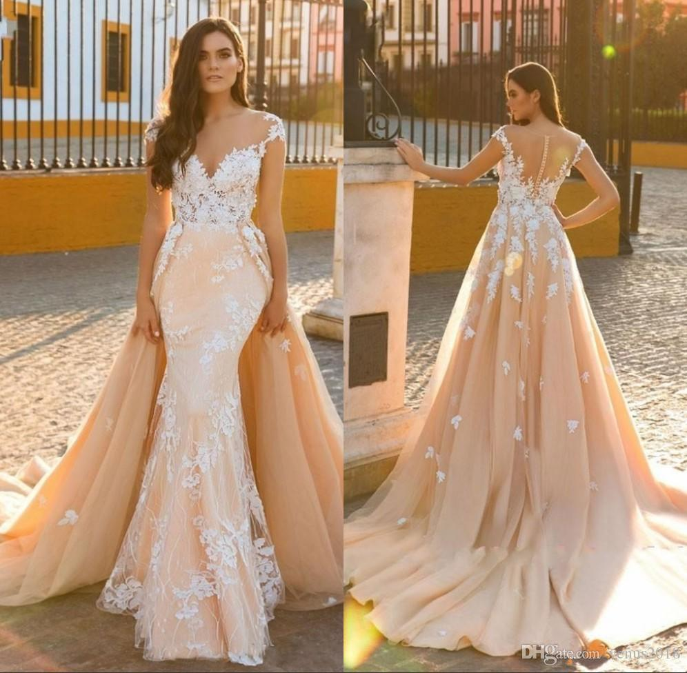ab707e9d67c Detachable Train Mermaid Wedding Dresses Bridal Gowns Vintage Applique 2019  Scoop Embroidery Tulle 2 In 1 Customize Made Organza Mermaid Wedding Dresses  Red ...