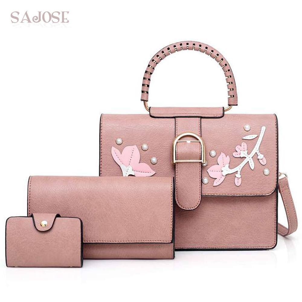 c351a89cad Pu Leather Women Top Handle Bag Casual Totes Women S Shoulder Bags Handbags  With Pearl Flower Composite Bag For Lady Handbag Wholesale Womens Bags From  ...