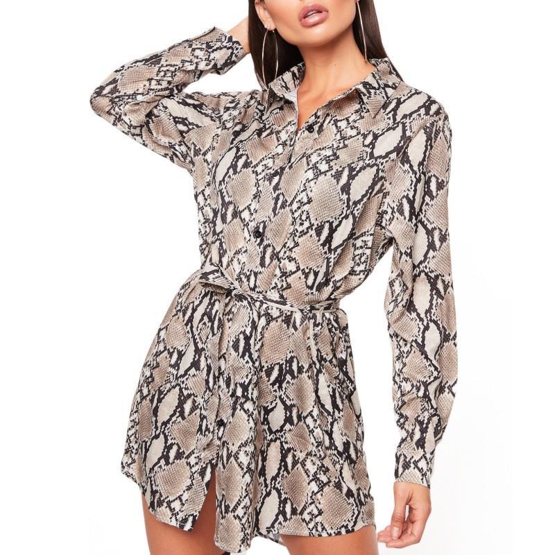 904851f0b11 YSMARKET Shirt Style Snake Skin Print Long Sleeve Sexy Mini Dress Women  Spring Autumn Causal Dresses Ladies Club Party Button Up Sashes