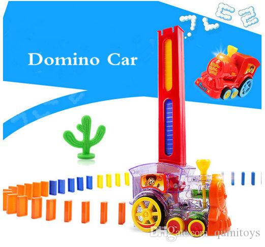 Children's domino car building blocks diy sound and light automatically put on electric DIY toys puzzle building blocks toys