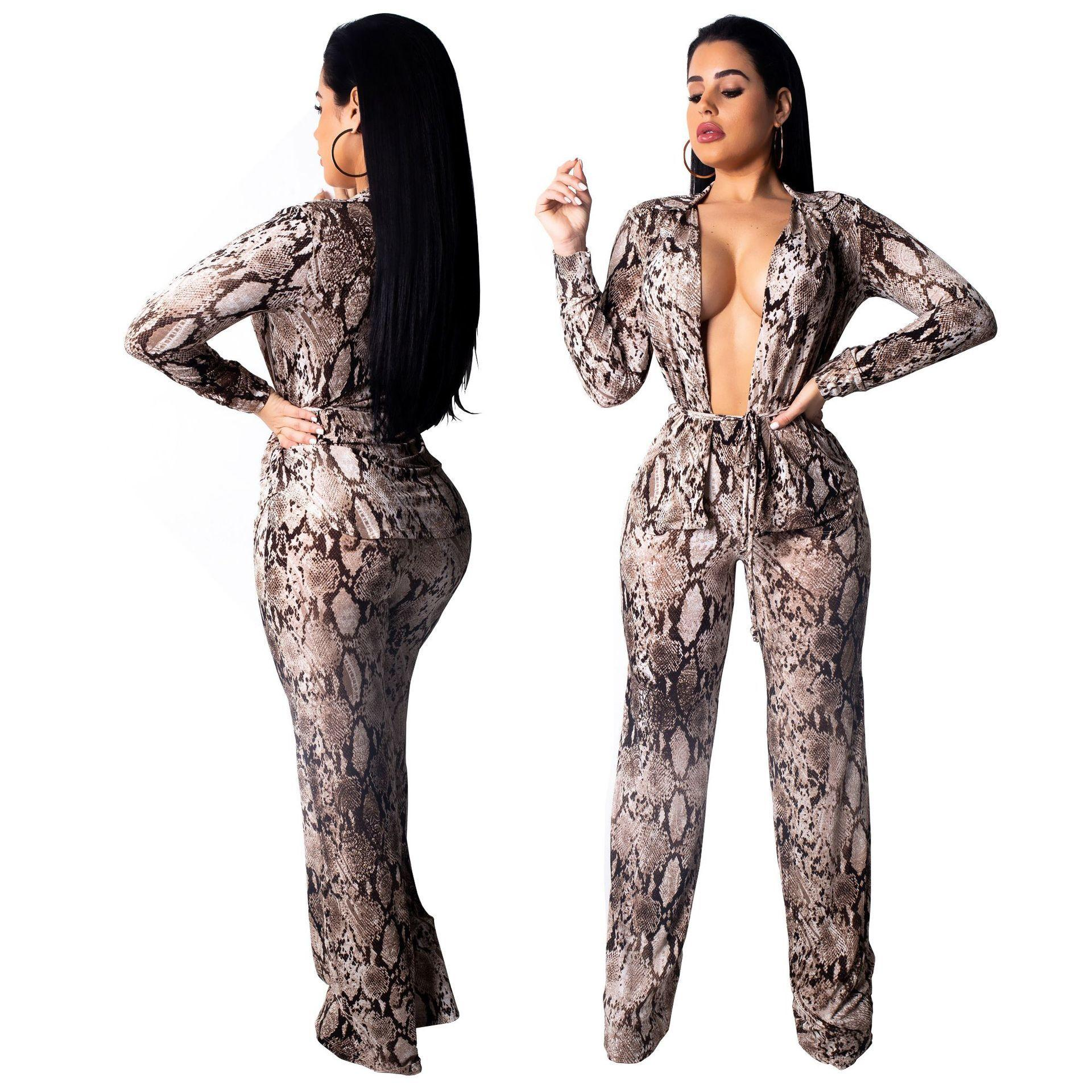 c0211f27540 2018 Heat Pin Sexy Fashion Digital Printing Long Sleeves Serpentine Suit  Two Piece Set