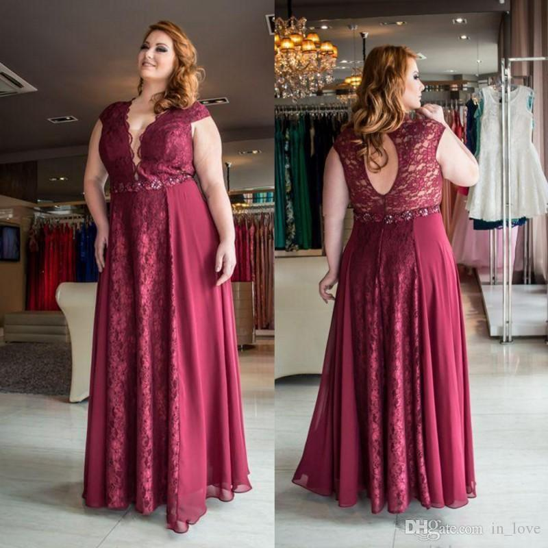 949e31d7bfb392 2019 New Burgundy Plus Size Prom Dresses V Neck Hollow Back Lace Chiffon  Ladies Formal Evening Dress Party Gowns Custom Plus Size Indie Prom Dresses  Le ...