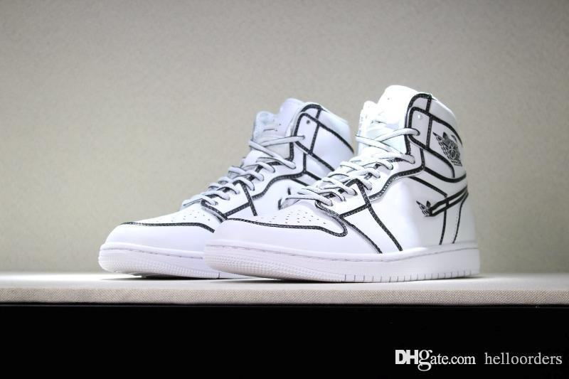 low priced 31d76 89fa1 018 Designer Shoes 1s High Retro OG mens luxury designer trainers Hans Dyed  All White Mains Tout Blanc Sneakers 1 Sports Sneaker