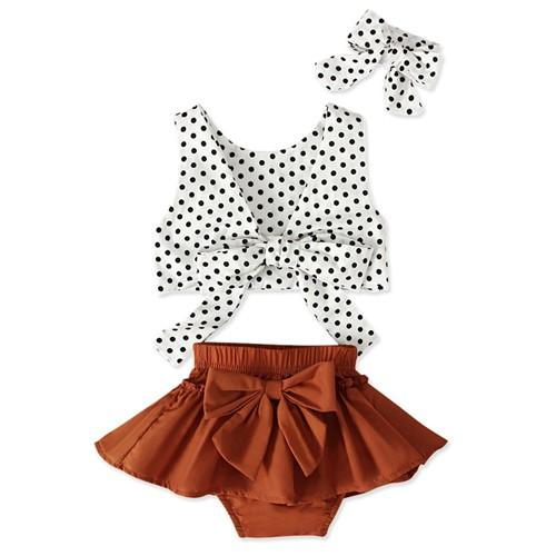 2019 baby girl summer outfits kids boutique clothing newborn clothes infant girls headbands polka dot vest tops big bows tutu shorts 3pc set