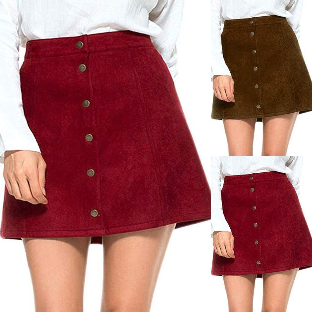 7765b3ccc Nuevo estilo para mujer, damas, sólido, vintage, botón de suedette, cintura  alta, liso, una línea, mini falda corta, rojo, marrón