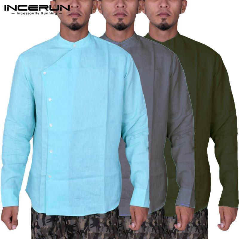 2019 Ethnic Kurta Cotton Men Clothing Mens Shirts Long Sleeve Fashion Tee  Tops Loose Button Casual Shirts Chemise Big 5XL Camisas From Victoriata b999e912d89e
