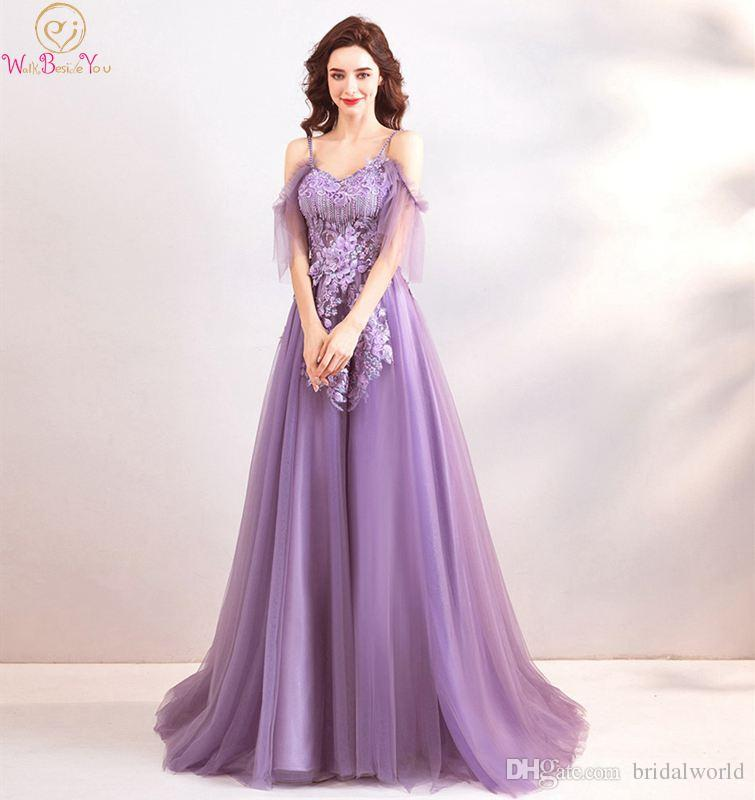 22d35d3befb Elegant Purple Prom Dress A Line Off Shoulder Spaghetti Straps V Neck Sweep  Train Illusion Appliques Flowers Beading Tulle Gown Vintage Inspired Prom  ...