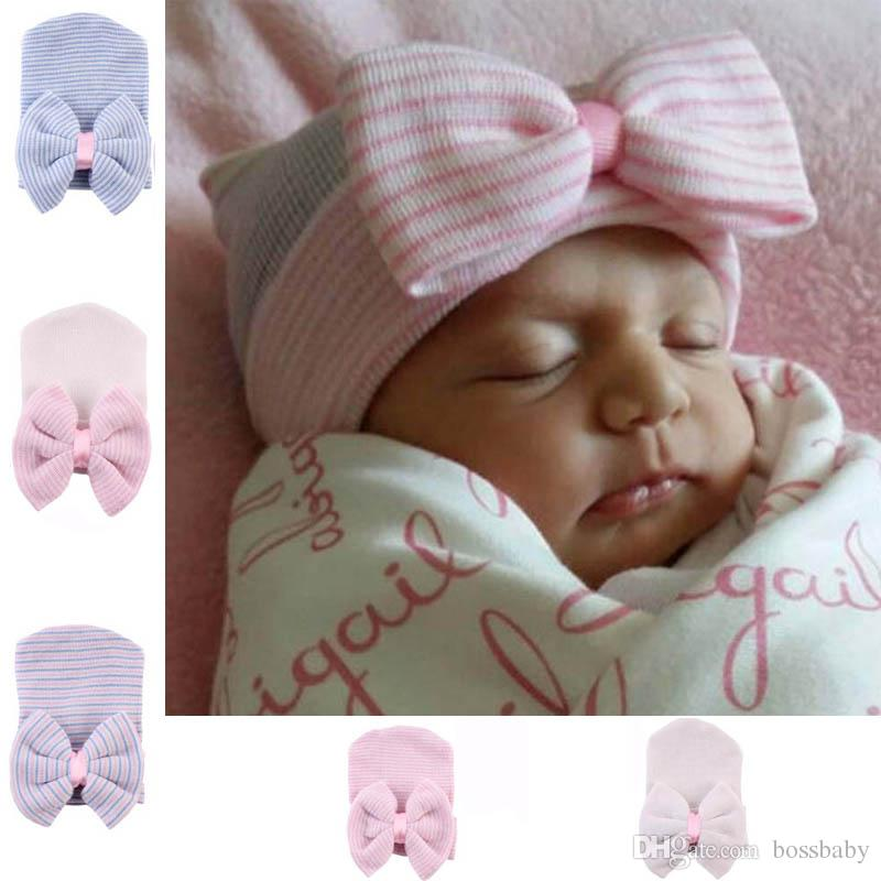 df47bf9475aa51 2019 Newborn Baby Hat Baby Girl Knitted Pullover Cap Big Bow Striped Solid  Girl Winter Hedging Hats 6 From Bossbaby, $1.38 | DHgate.Com