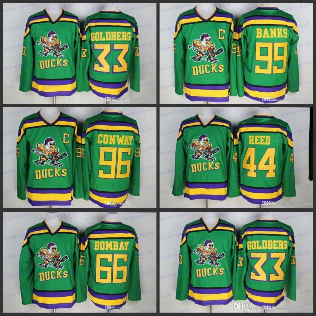 0c9eb2ea0 2019 Mighty Ducks Movie Jersey 33 Greg Goldberg 66 Gordon Bombay 96 Charlie  Conway 99 Adam Banks Hockey Jerseys Stitched From Buybestgoods, $28.43    DHgate.