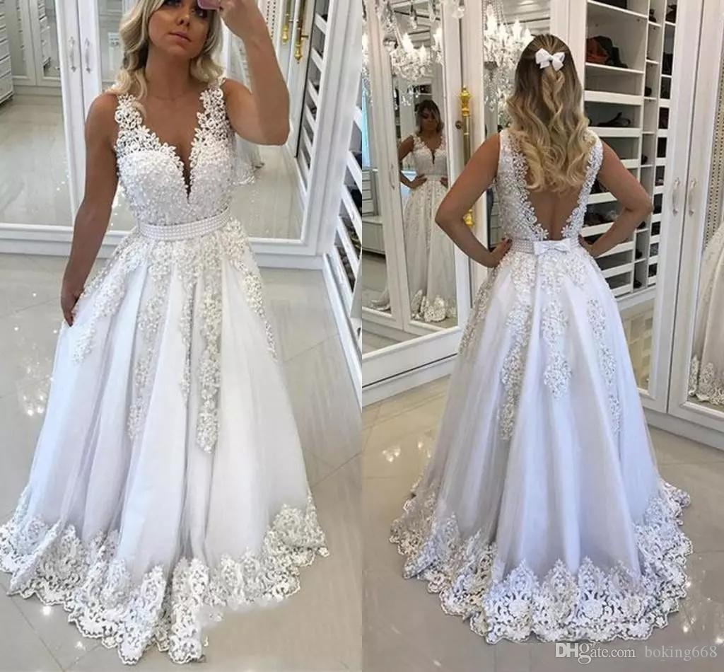 Discount Latest Luxurious V Neck A Line Wedding Dresses 2019 Floor Length Appliques Beaded Backless Sleeveless Bridal Gowns Bride Taffeta: Taffeta Lace Wedding Dress Look No At Reisefeber.org