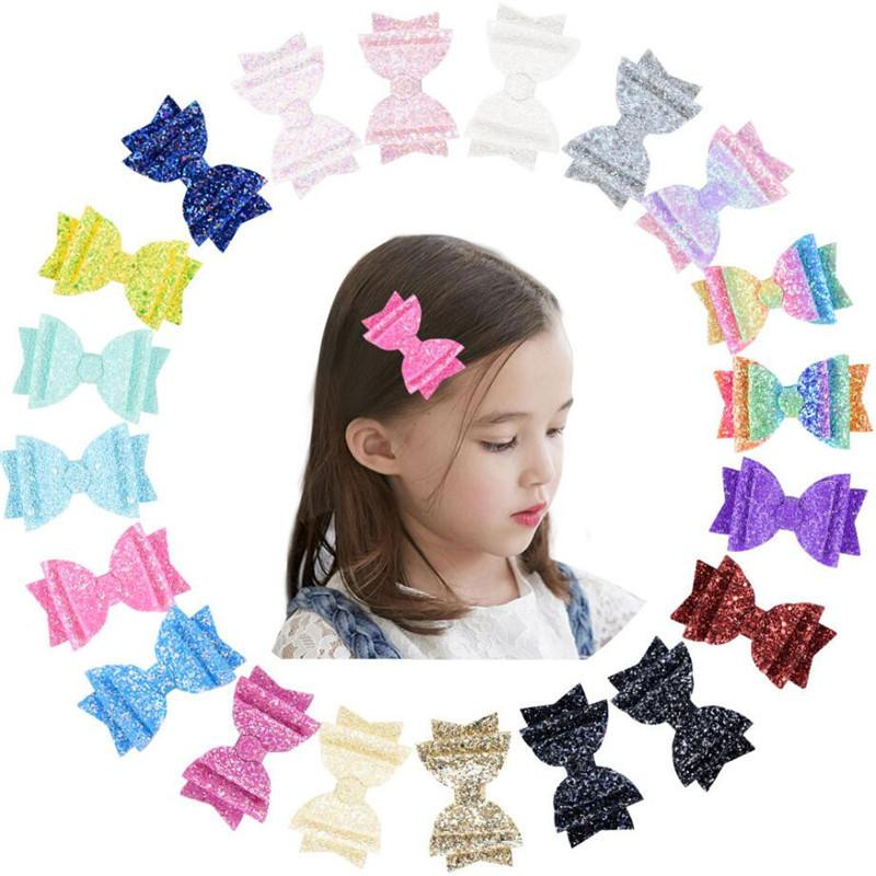 Cute Angle Wing Hair Clip Sequins Glitter Hair Bows Sparkly Gilrs Hairpin PU leather Barrettes Children Girl Hairpins Hair Accessories Best