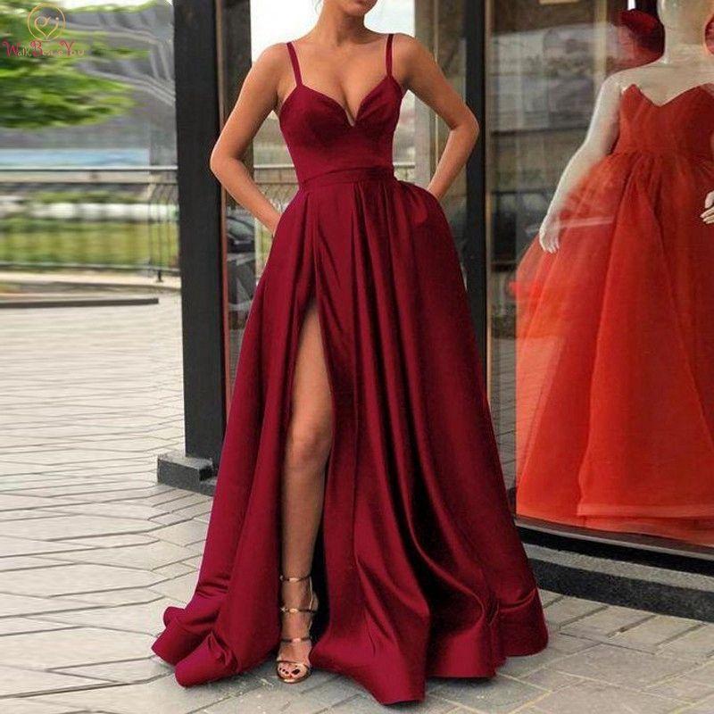 3edb553424d4 2019 Nuevo Vino Rojo Vestidos de noche Elegantes Cuello en V profundo  Dividir una línea Correas espaguetis Tren de barrido Fiesta formal Vestidos  ...