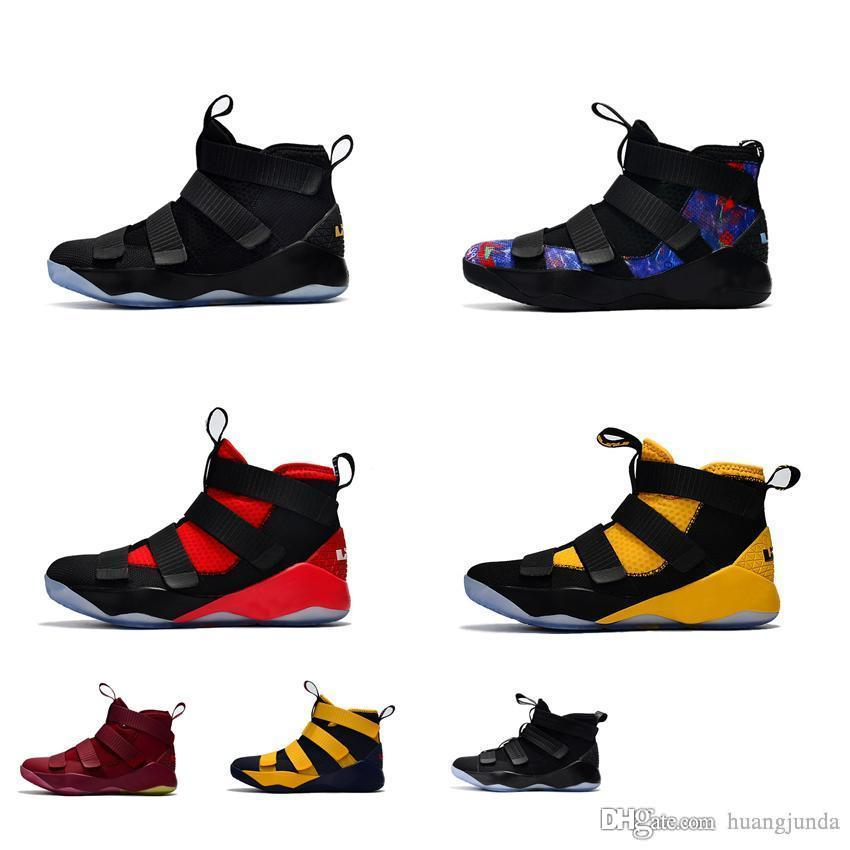 00988137e143 Cheap Cheap New Women Lebron Soldier 11 XI Basketball Shoes Black Cat Gold  Team Red Yellow Boys Girls Youth Kids James 23 Sneakers Tennis for Sale