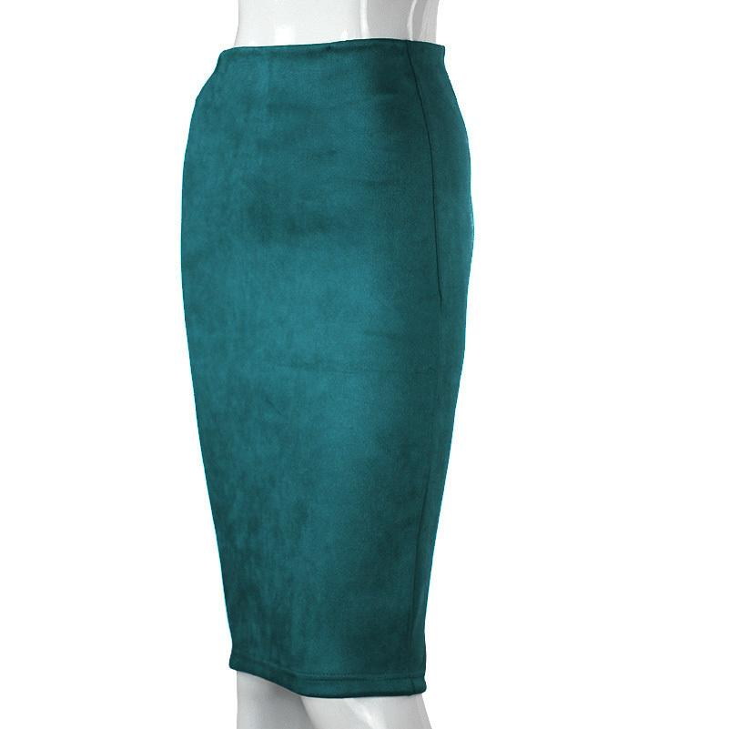 Empire Skirts Spring Faux Suede Pencil High Waist Bodycon Split Thick Stretchy Sexy Skirts Knee Length Plus Size