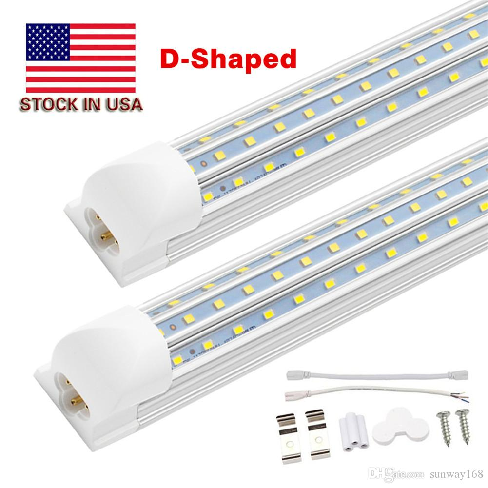 Free Shipping 4FT. 5FT. 6FT. 8FT. 120W LED Tube Lights T8 Integrated Bulb with parts V shaped 270 angle 85-277V Cooler shop lights