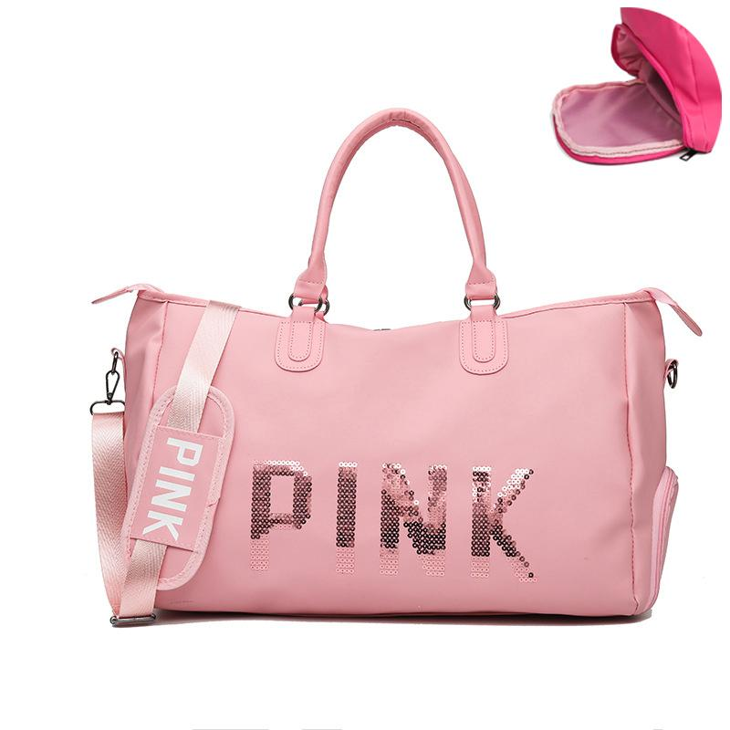 Security & Protection Sincere 2019 Wholesale Sequins Sport Bags Ladies Leather Gym Bag Women Fitness Training Luggage Handbag Travel Duffel Bag For Womens