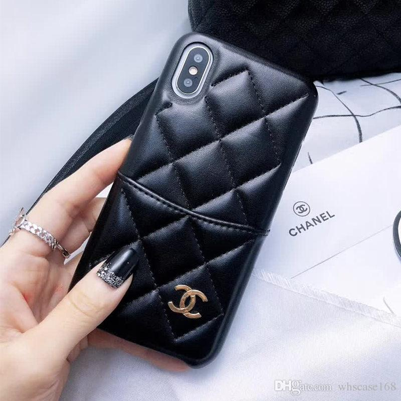 cbff762cdae3fb Newest Luxury Brand Designer Phone Case For IPhone X XR Xs Max 6 6plus 7  7plus 8 8Plus Top Quality Lambskin Leather Phone Case Card Holder Phone  Covers Make ...