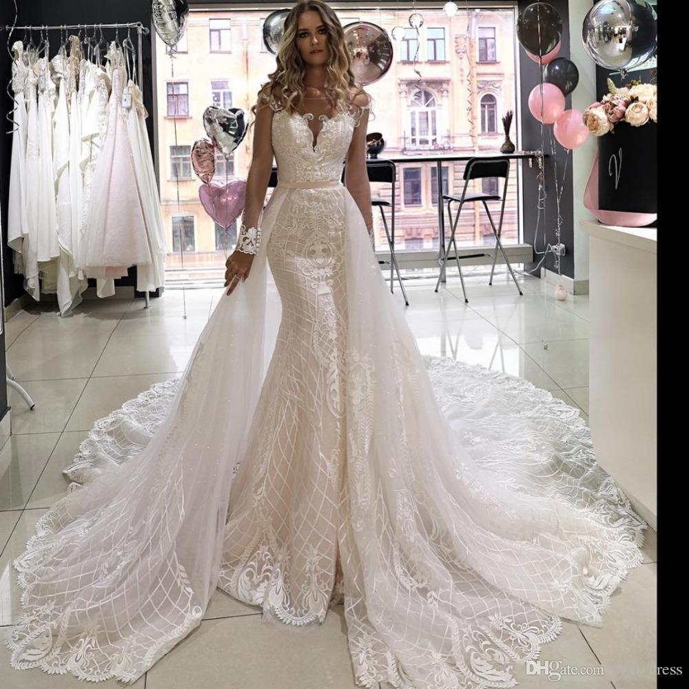 2019 Full Lace Mermaid Wedding Dresses with Detachable Train vestido de novia Custom Made Sweep Train Kleider wedding dresses robe de mariée