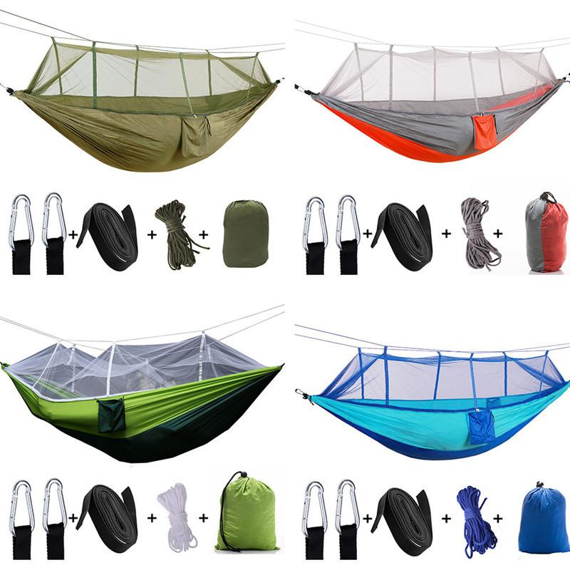 Upgrade Mosquito Net Hammock 2 persons Outdoor Parachute Cloth Field Outdoor Hammock Garden Camping Swing Hanging Bed