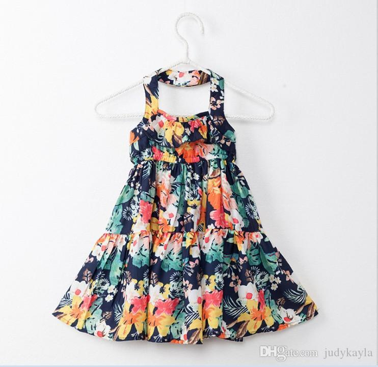 2018 Nueva llegada Big Girl Summer Princess Dress Niños Floral Impreso sin mangas Vestidos de tirantes Fashion Girls Backless Dress 6pcs / lot