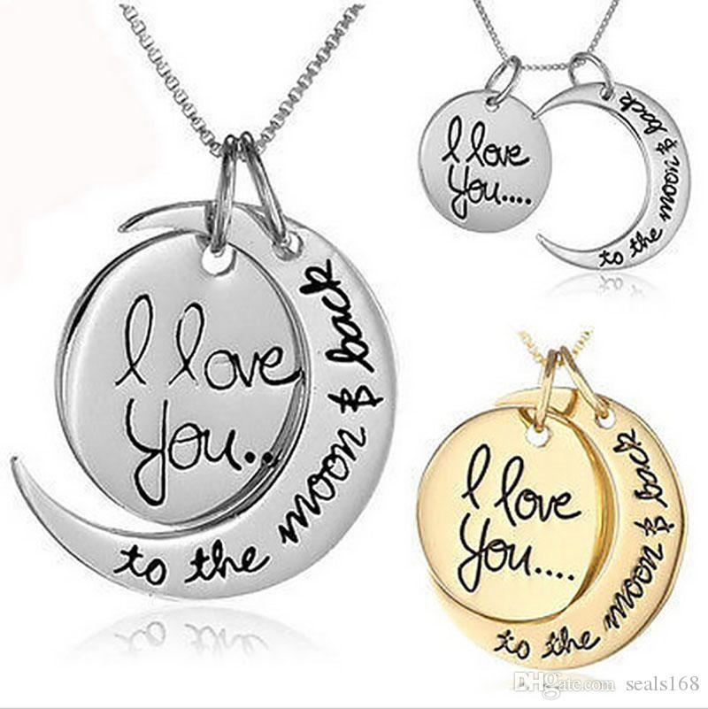 Moon Necklace I Love You To The Moon And Back For Mom Sister Family Pendant Link Chain Party Favor Gifts God Silver HH7-1999