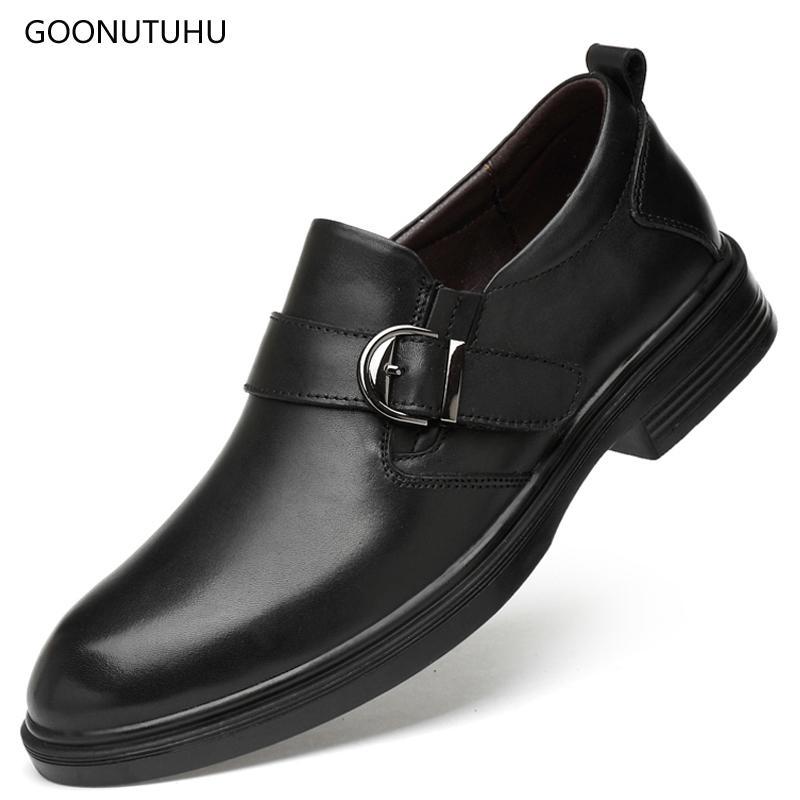 521b879bb 2018 Autumn Winter Men S Dress Shoes Genuine Leather Cow Classic Black  Wedding Shoe Man Office Formal Shoes For Men Big Size 49 Cheap Heels  Comfort Shoes ...