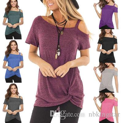 50c1bdf8b9a6e Solid Women S Cold Shoulder T Shirt Irregular Off Shoulder Short Sleeve  Blouses Knot Twist Front Tunic Tops T Shirts Buy Online Humor Tees From  Nbkingstar