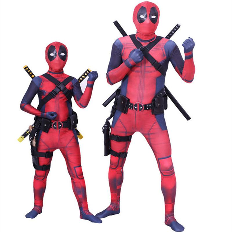 Kids Boys Deadpool Costume Adult Men Fantasia Deadpool Adulto Jumpsuit Father Son Cosplay Hero Catsuit+Mask Halloween Clothes