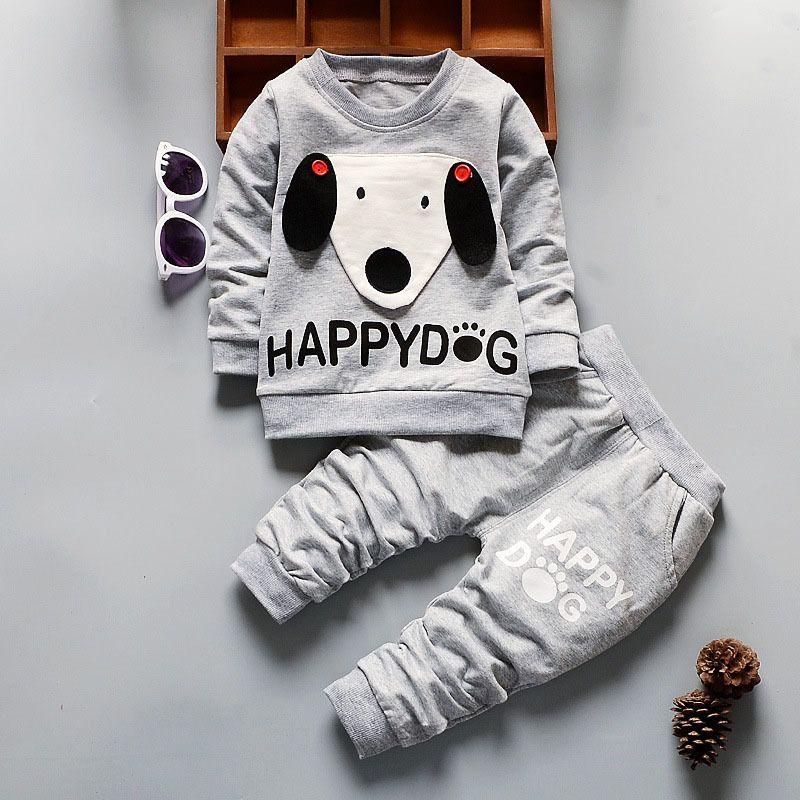 76848ad6b Compre Buena Calidad Otoño Ropa De Bebé Conjunto Primavera Infantil Niños  De Dibujos Animados Perro Sweatershirt + Pantalones Chándal Algodón Recién  Nacido ...