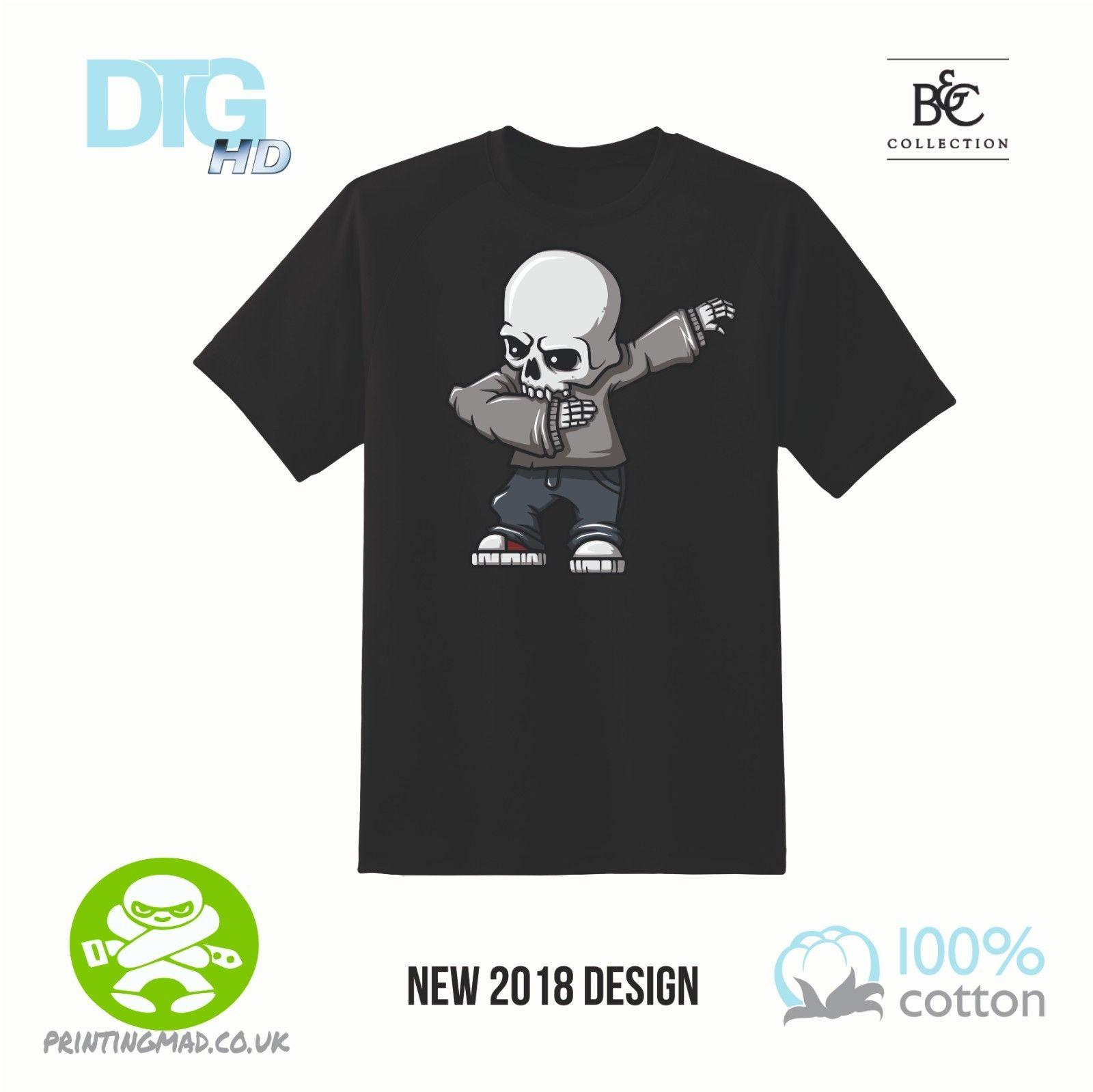 a5c59d3491 dab skeleton halloween black tshirt DTG. KIDS LADIES MENS New  Brand-Clothing Tee 2018 Summer 100% Cotton