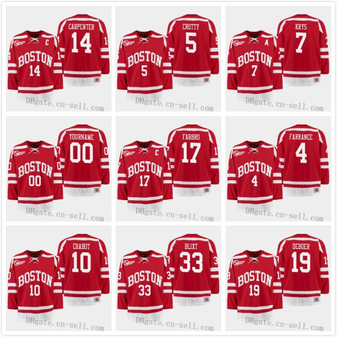 new arrival 26d18 5b86b 2019 Boston University Terriers 14 Bobo Carpenter Cam Crotty Chad Krys  Fabbro Farrance Chabot Hugo Blixt Deboer Tournament Hockey Jersey