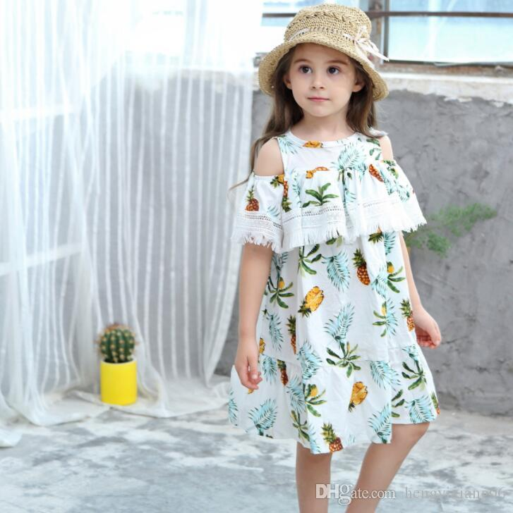 New Girls Longuette in cotone Broken flowers Dress Dresses Girl Prom Dresses Summer Princess Dress migliore qualità 4-20 lw43
