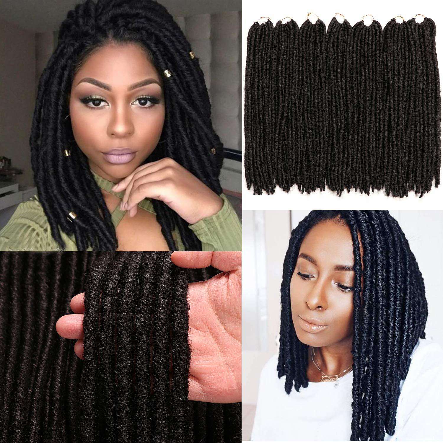3 Packs Goddess Dreadlocs Faux Locs Hair Extensions Straight Goddess Locs 18 Inch Synthetic Crochet Hair Soft Crochet Braids For Women