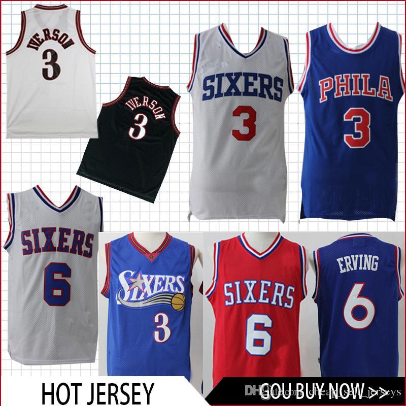 finest selection 57a85 9d0aa Men's 3 Iverson 76ers 6 Erving men fans clothes printed Retro version  basketball Jersey