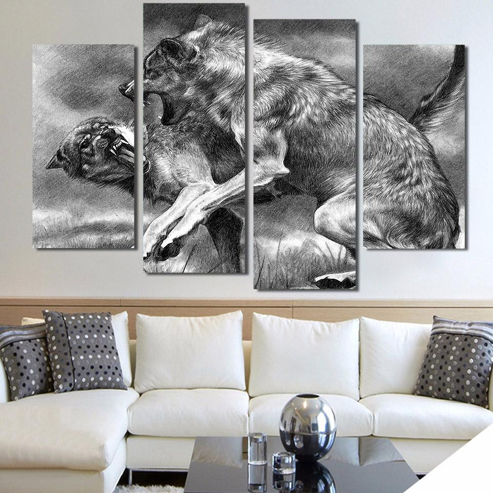 2019 Living Room Wall Art Pictures Framework Painting Modular 4 Panel Ferocious Gray Wolf Animal Home Decoration HD Printed Modern Canvas From Xu793737893
