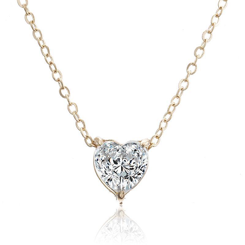 Pendentif cristal Neklace pour les femmes d'or couleur simple à chaîne courte Brillant Coeur Collier de mode pour cadeau d'anniversaire de mariage X41