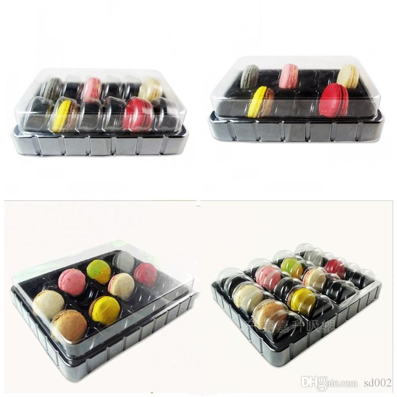 Candy Macaroon Storage Boxes Transparent Square Plastic 12 To 48 Grains Exquisite Baking Pastry Packing Cupcake Box 6 5js3E1