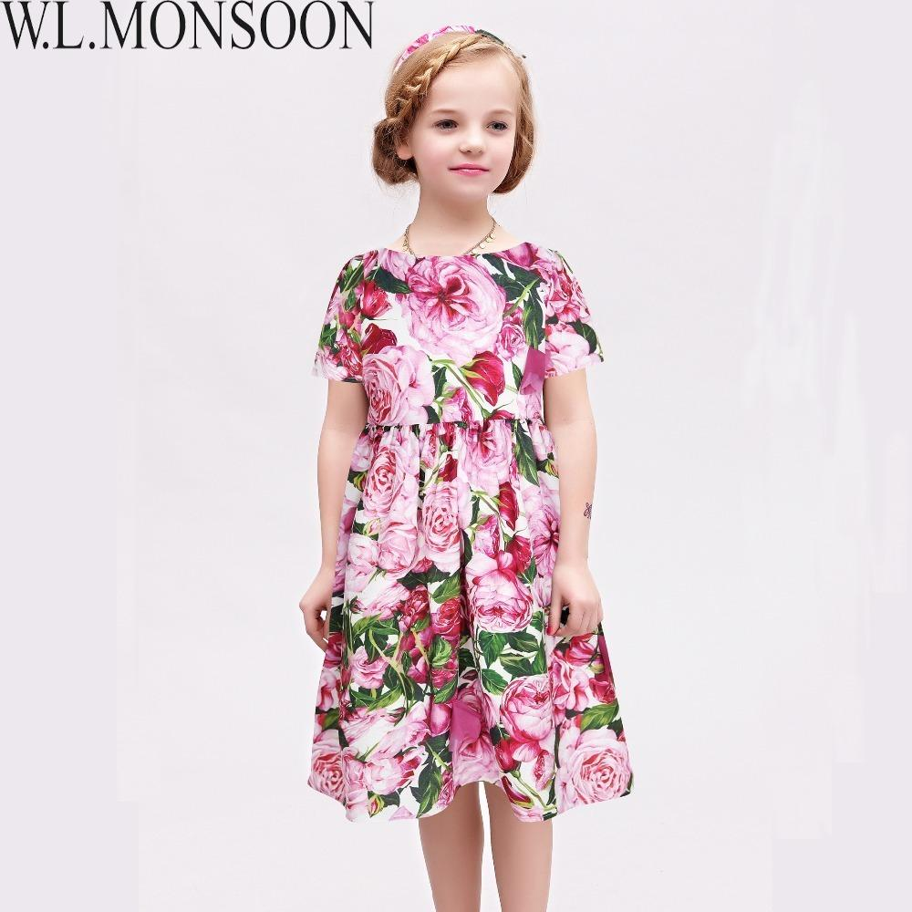 1e7fedb5aa040 W.L.MONSOON Kids Dresses for Girls Clothes 2019 Brand Toddler Girl Summer  Dress Rose Flower Robe Fille Princess Dress Children