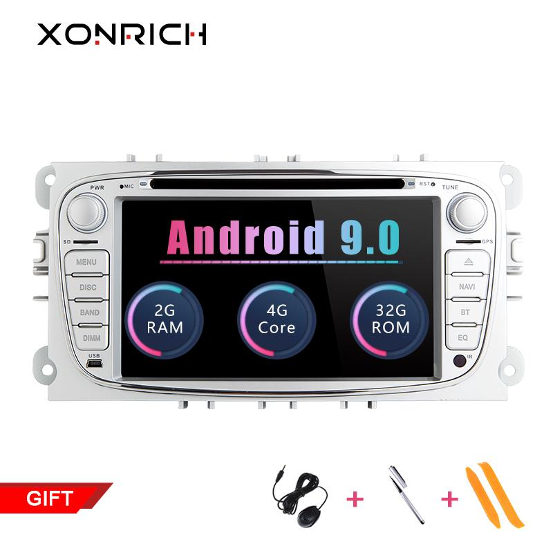 Xonrich 2 Din Android 9.0 Car Radio Multimedia Player For Ford Focus Mondeo 4 S-Max C-Max Galaxy Kuga GPS DVD 2+32 GB 4G