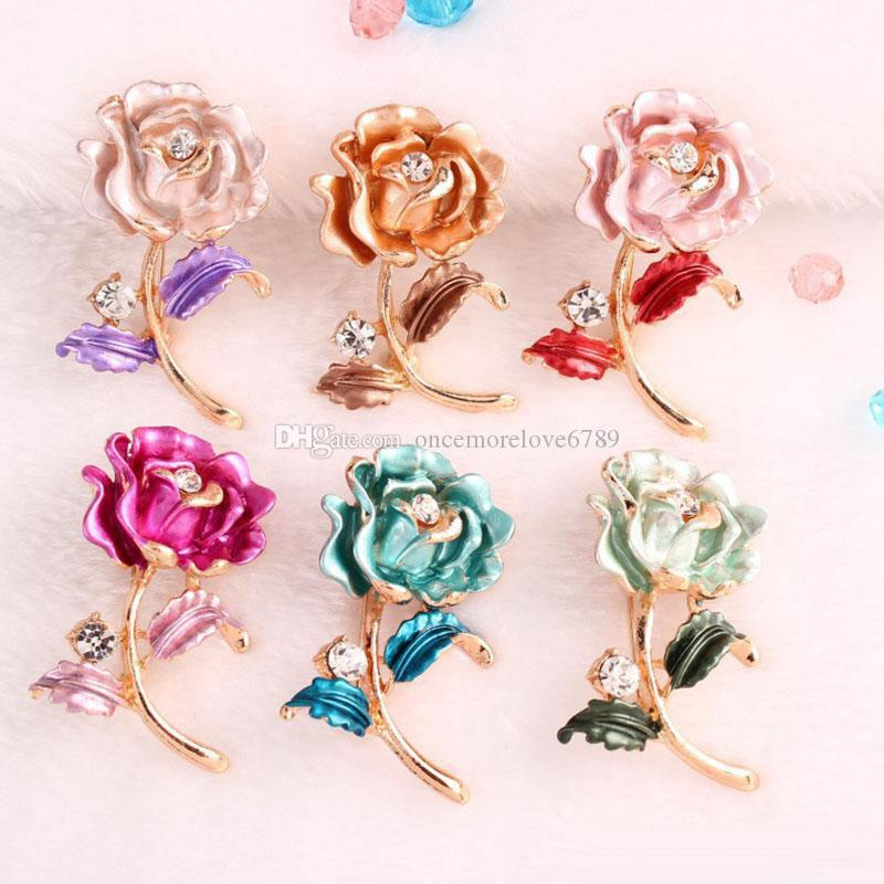 Crystal Rose Brooches Pins Enamel Gold Flower Corsage Wedding Brooch for Men Women Bride Dress Fashion Jewelry
