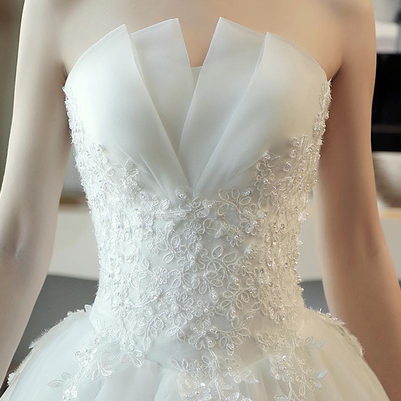 Queue De Luxe Mariée Robe Blanche Et Poitrine Princesse Automne Rêve Coréen Simple Hiver Essuyer nPwOk0