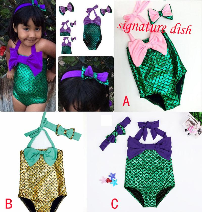 fabc4dc13d643 2019 DHL Mermaid Swimsuit Costume Girls Mermaid Swimsuit Bathing Swimwear  Bowknot Bikini Suit Girls Mermaid Tail Swimwear Hairband Suit M956 From  Lisamami, ...