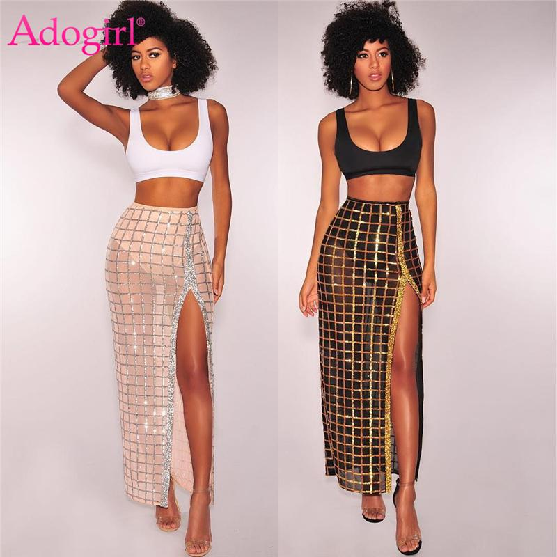 04e5971fd6061 2019 Adogirl Two Piece Set Women Crop Tank Top Sequins High Slit Maxi Dress  Sexy Party Club Suit Summer Outfits Female Costumes Y19012201 From  Shenyan01