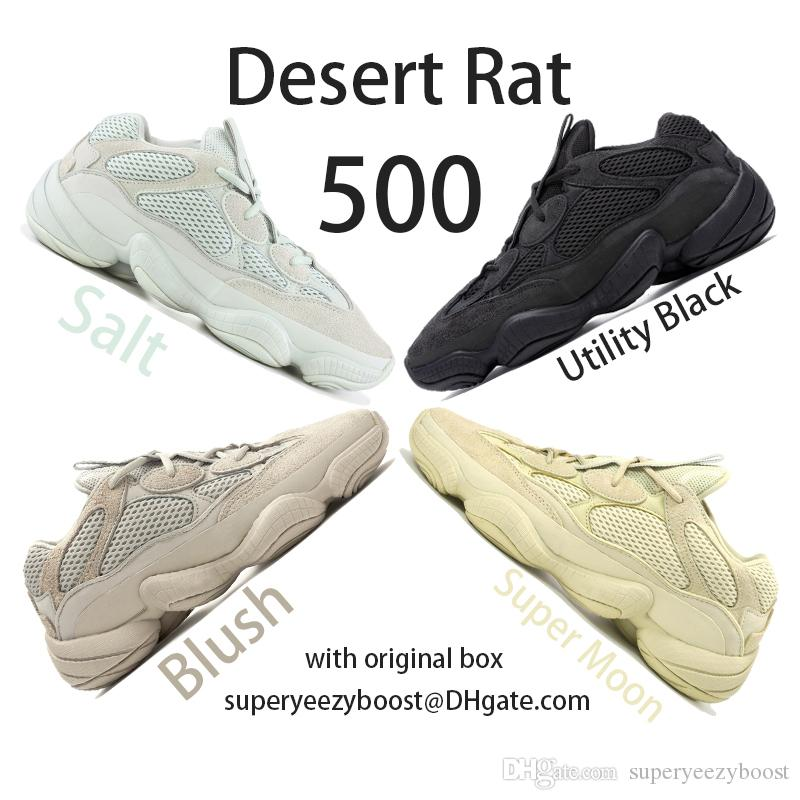 f3218a2f198e7 New 500 Salt Running Shoes Mens Womens Desert Rat 500 Utility Black Blush  F36640 DB2908 EE7287 Kanye West Designer Boots With Original Box Trail  Running ...