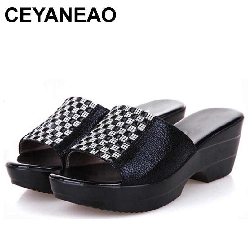 e1875620234 CEYANEAOPlus Size 40 42 Rhinestone Wedges Slippers New Summer Female  Sandals Sequins Genuine Leather Cowhide Women S ShoesE956 Gold Shoes Girls  Boots From ...