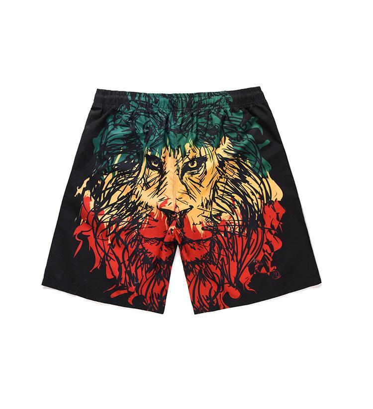 b88c6a2541 Mens 3D Lion Printed Swim Shorts 19ss Summer New Casual Beach Board ...