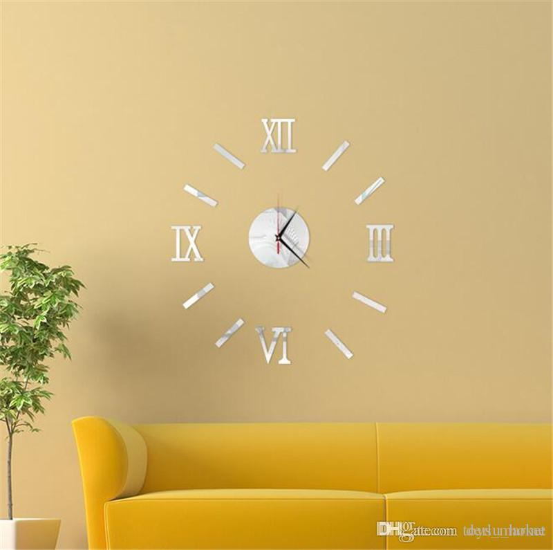 sticker wall clock modern diy analog 3d mirror surface numbers house