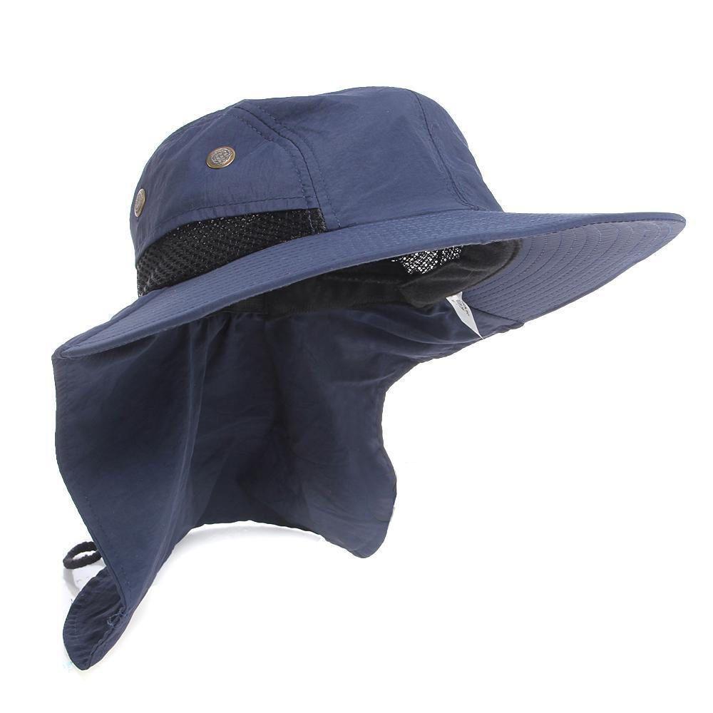 f7a6eca650a63 Casual Neck Flap Boonie Hat Fishing Hiking Safari Outdoor Sun Brim ...